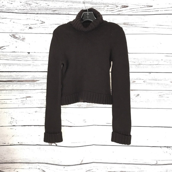 THEORY Women Cropped Turtle Neck Sweater